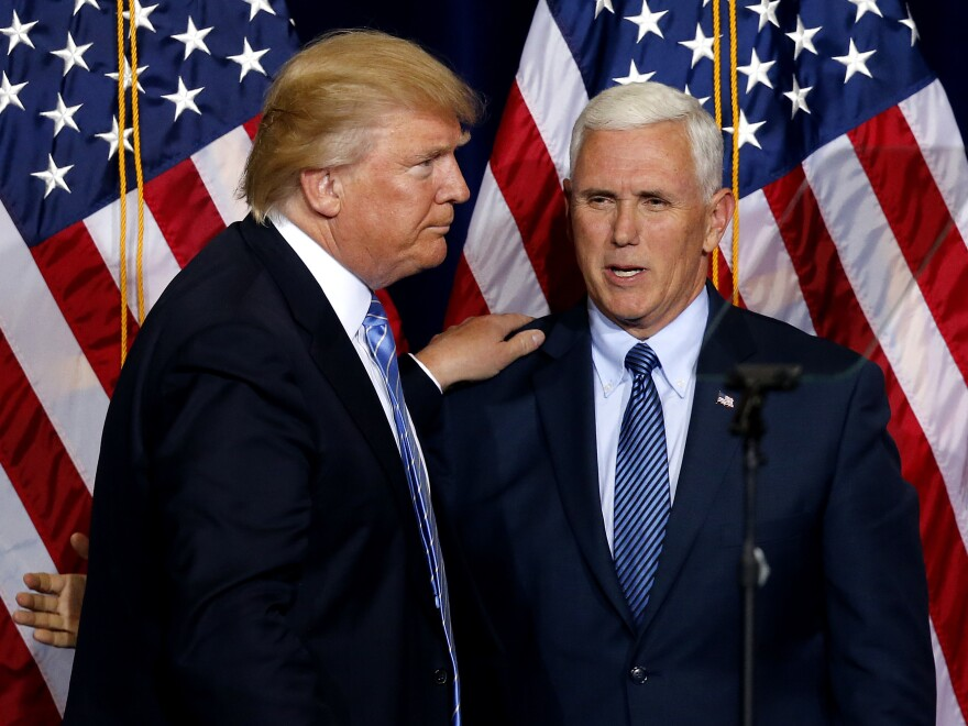 "Republican presidential candidate Donald Trump (left) and vice presidential candidate Mike Pence. Pence released 10 years of his tax returns revealing a modest income. A Pence spokesman says Trump won't release his until after ""a routine audit."""