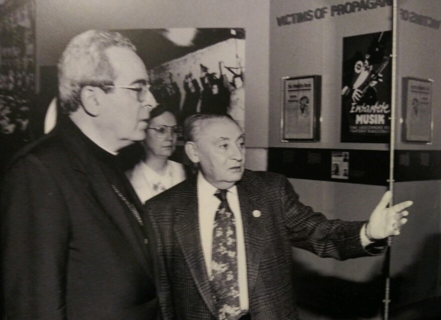Leo Wolfe, right, with Archbishop Justin Francis Rigali at the Holocaust Museum & Learning Center in 1995.  4/15/19