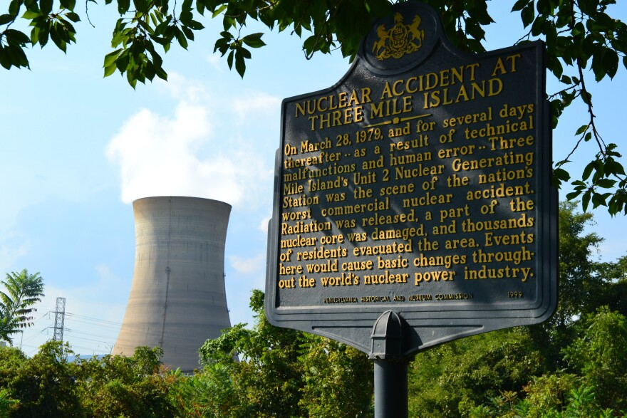 A historical sign memorializes the March 28, 1979, partial meltdown at Three Mile Island nuclear power plant.