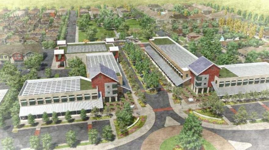 A town in California's Central Valley plans to transform farmland into an eco-friendly residential community. An artist's rendering shows plans for Kings River Village in Reedley, Calif.