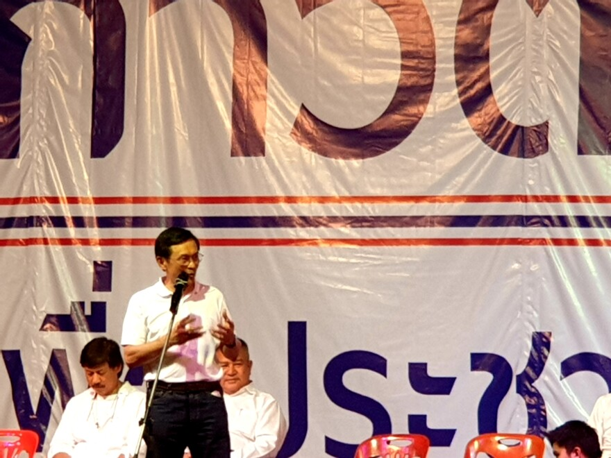 Chaturon Chaisang, former Cabinet minister under Thaksin Shinawatra, speaking at a rally in same rally in Nakhon Ratchasima.