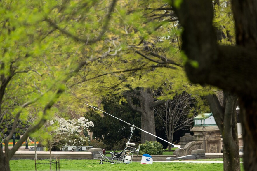 A gyrocopter sits on the West Lawn of the U.S. Capitol in Washington on Wednesday. A Capitol Police spokeswoman said its occupant was arrested.
