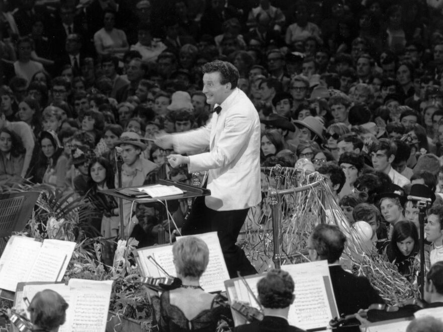 The late Colin Davis conducting the last night of Proms at London's Royal Albert Hall in September 1968.
