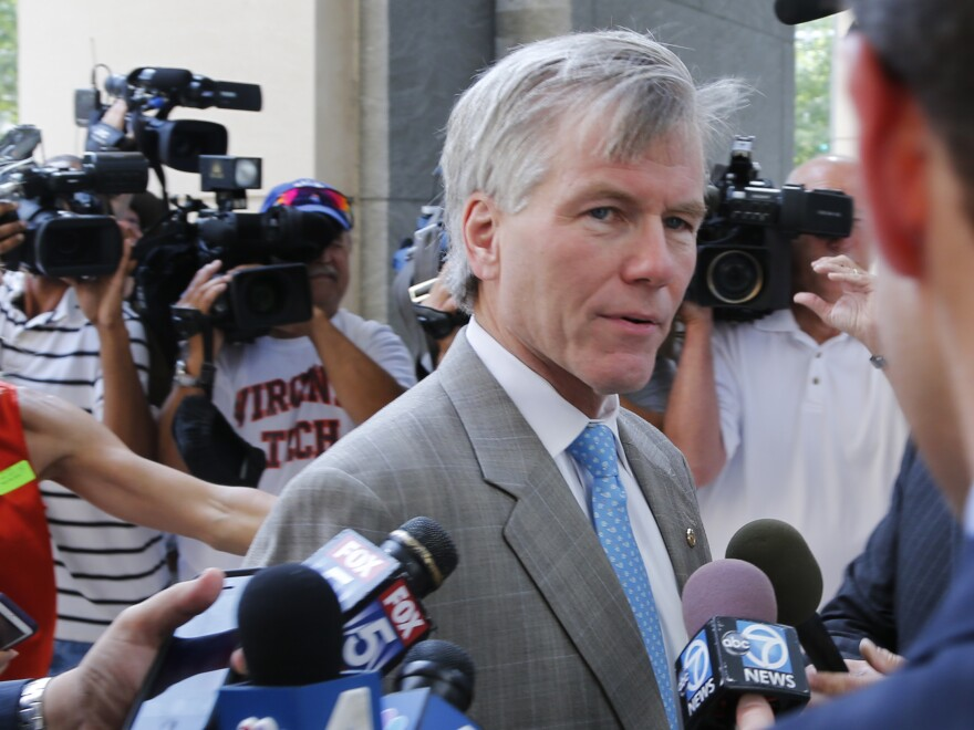 Former Virginia Gov. Bob McDonnell arrives at federal court in Richmond on Aug. 28.