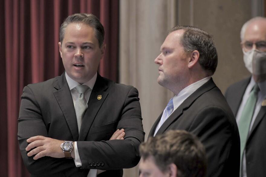 Majority Floor Leader Rob Vescovo, R-Arnold, and House Speaker Elijah Haahr, R-Springfield, speak during House floor debate on May 6, 2020