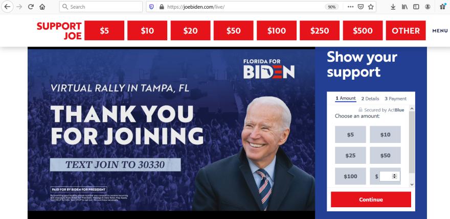 Joe Biden on a rallhy placard