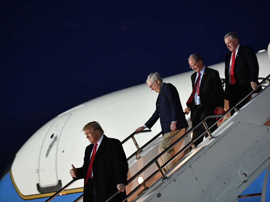 Rep. Mark Meadows leaves Air Force One in November after traveling to Kentucky with President Trump, Senate Majority Leader Mitch McConnell, and Rep. Brett Guthrie.