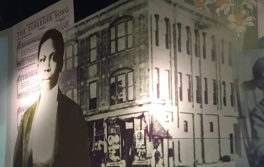 A large mural of Paul Laurence Dunbar greets visitors to the Wright Dunbar Interpretive Center in Dayton.