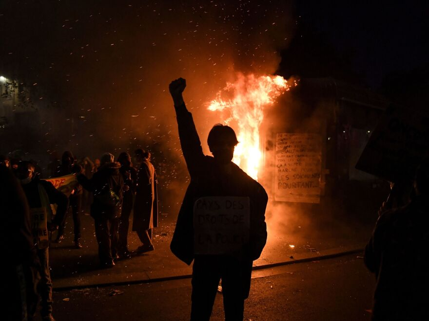 Thousands of protestors across France hit the streets Saturday to condemn police brutality and a proposed law that would make it harder to publicize images of on-duty police officers.