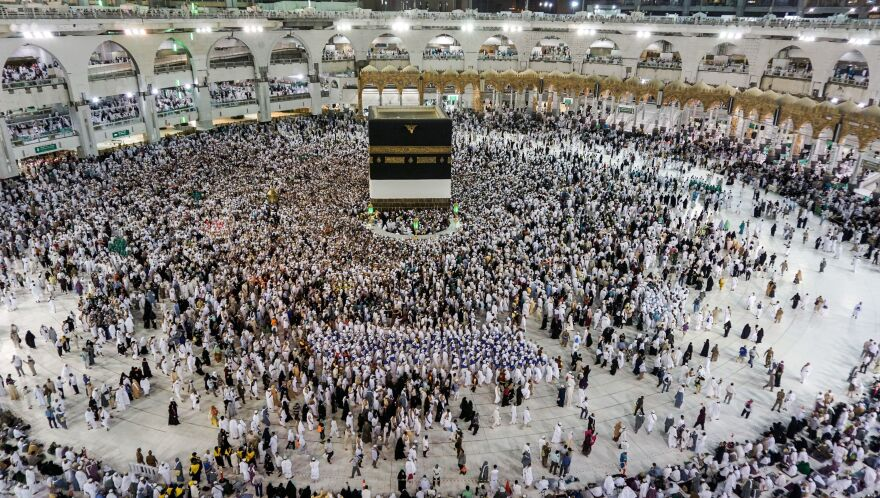 Worshipers circle the Kaaba prior to the start of the annual hajj pilgrimage in Mecca, Saudi Arabia.