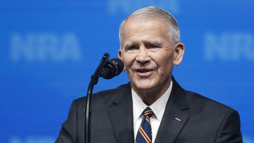 Retired U.S. Marine Lt. Col. Oliver North speaks before giving the invocation at the National Rifle Association Institute for Legislative Action Leadership Forum in Dallas on Friday. The NRA announced Monday that North will become president of the association within a few weeks.