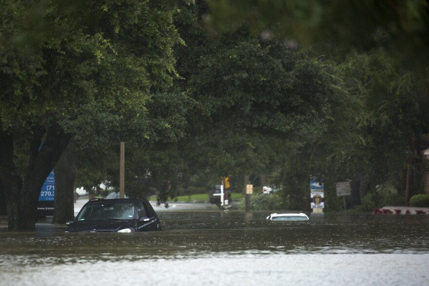 A neighborhood in Houston is flooded after the Addicks Reservoir crested.