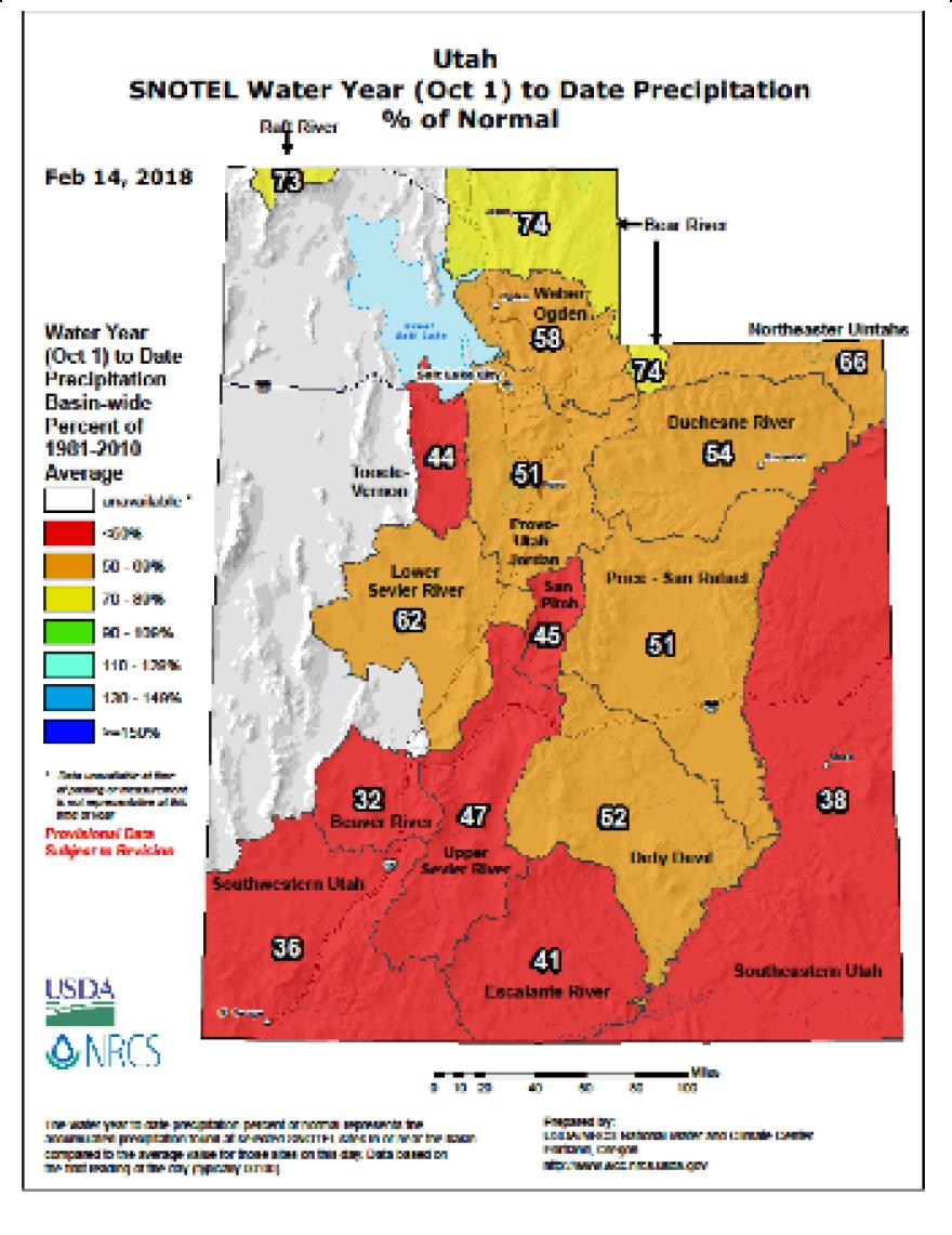 Basin-by-basin precipitation average map of Utah