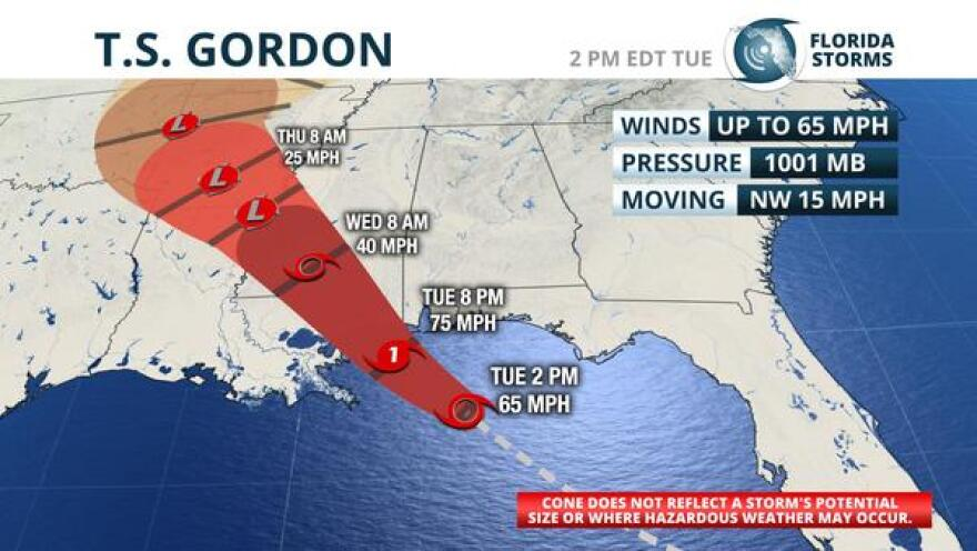 National Hurricane Center forecast track of Tropical Storm Gordan, as of the Tuesday 2 pm EDT advisory.