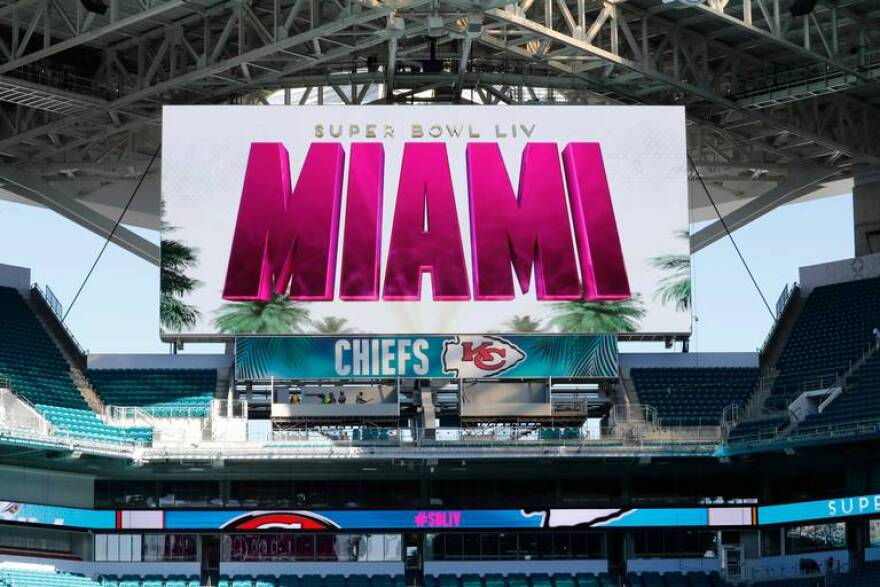 A scoreboard is seen during a tour of Hard Rock Stadium on Tuesday, Jan. 21, 2020, ahead of a NFL Super Bowl LIV football game in Miami Gardens.
