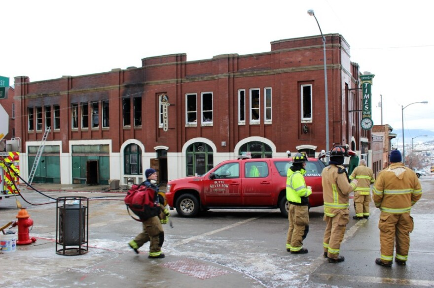 Butte firefighters on the scene of Uptown Butte fire. The building housed the Irish Times bar, the Post bar, and Muddy Creek Brewery.