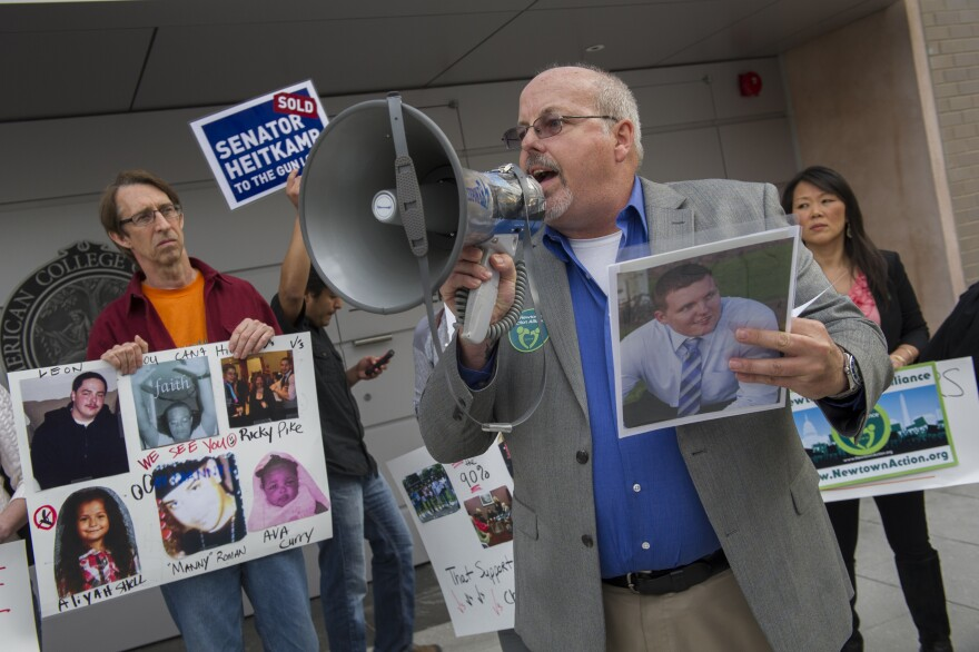 Tom Sullivan, father of Alex Sullivan, who was killed in the Aurora movie theater shooting in 2012, talks about his son during a gun control rally. Sullivan was elected to the state House in November.