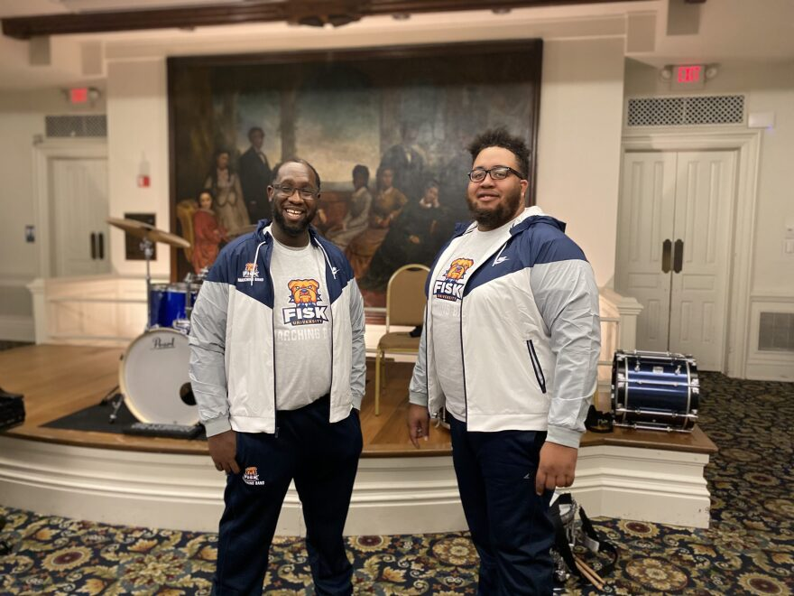 Fisk band director Thomas Spann, Jr., left, and Fisk assistant band director MarVelous Brown, right, have been at the forefront of reviving the Fisk University Marching Bulldogs. (Damon Mitchell/WPLN)