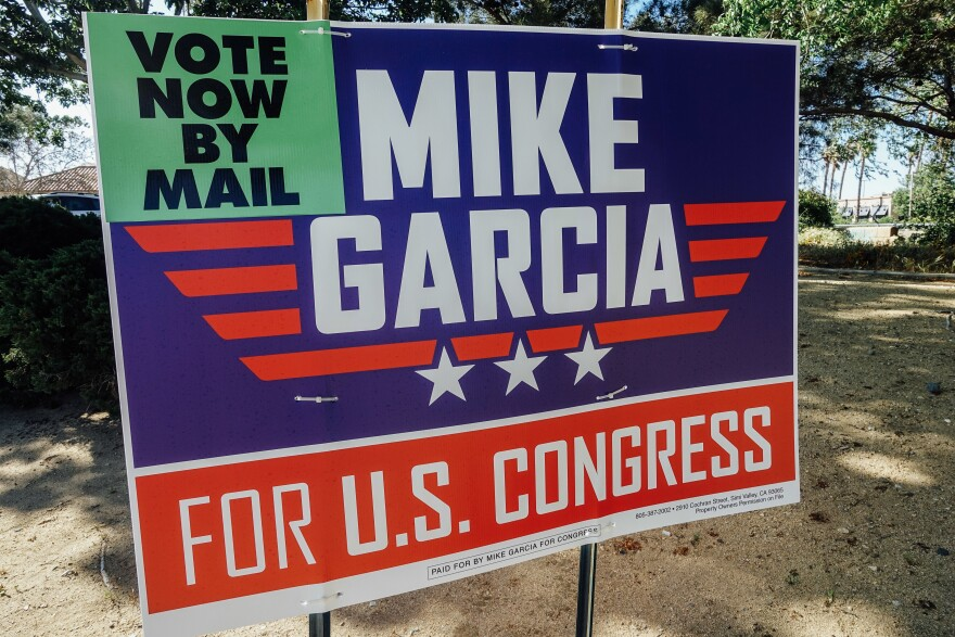 A campaign sign for Republican candidate Mike Garcia, who has gotten President Trump's backing in the race.