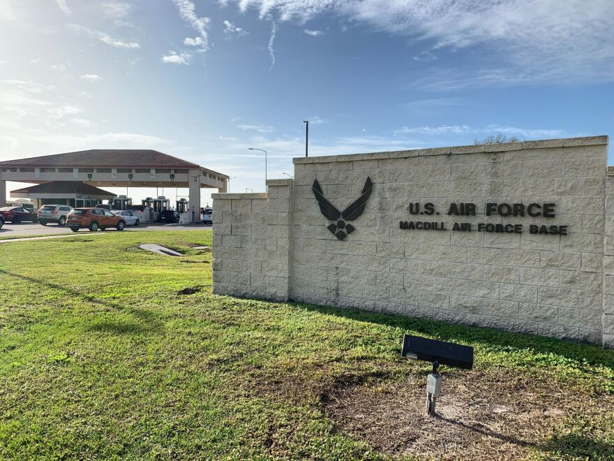 sign with U.S. Air Force logo and MacDill Air Force Base