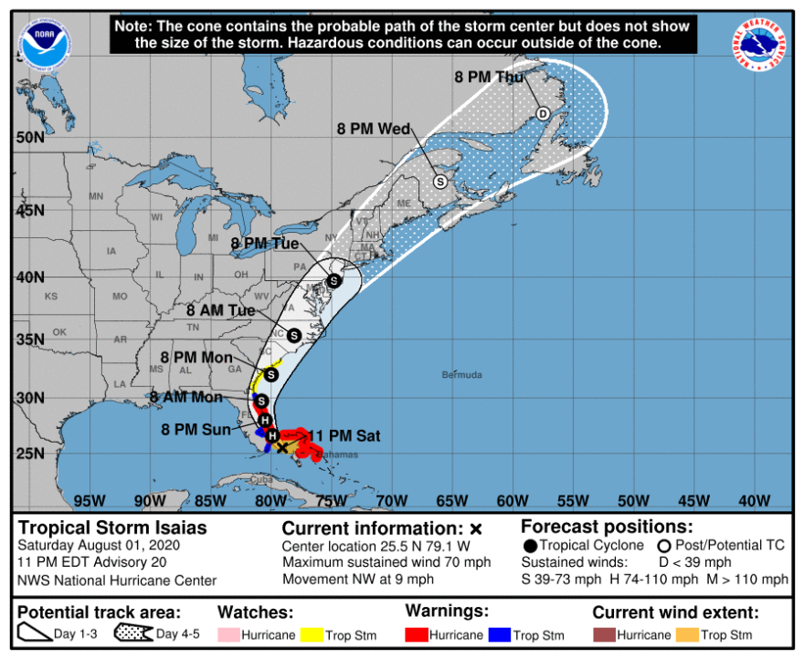 National Hurricane Center map predicting the track of Tropical Storm Isaias.