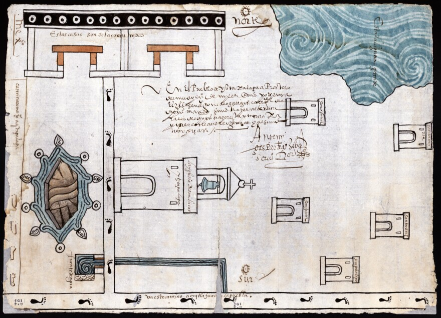"""Martín Cano's watercolor and ink map of Ixtapalapa, made in 1580, shows a lagoon in one corner. Ixtapalapa means """"water near the flat stones,"""" Granados explains."""