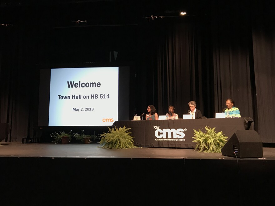 At a town hall, Charlotte-Mecklenburg Schools board members discuss HB514 and the town of Matthews.