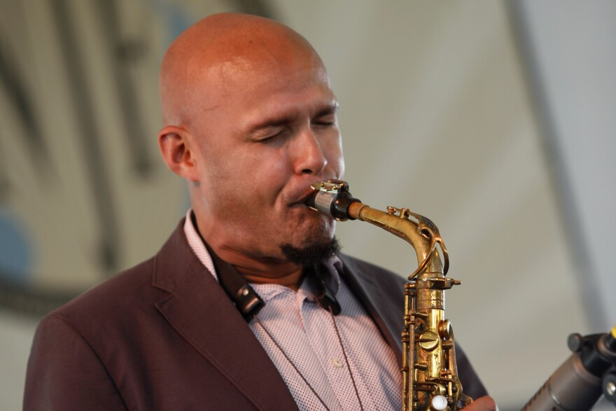 Miguel Zenon performs at  the Newport Jazz Festival in Newport, R.I. on Sunday, Aug. 5, 2012. (AP Photo/Joe Giblin)