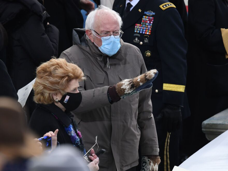 Bernie Sanders arrives for the inauguration of Joe Biden sporting a pair of mittens made from repurposed wool gifted to him by Jen Ellis, a teacher in Vermont.