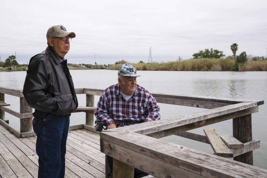 Cousins Rey Anzaldua (left) and Cavazos own a rustic campground in Mission. The government wants to put the wall and a wide patrol zone along the north end of their property. They worry it will drive away his tenants, who may not want to be walled off from the rest of Texas.