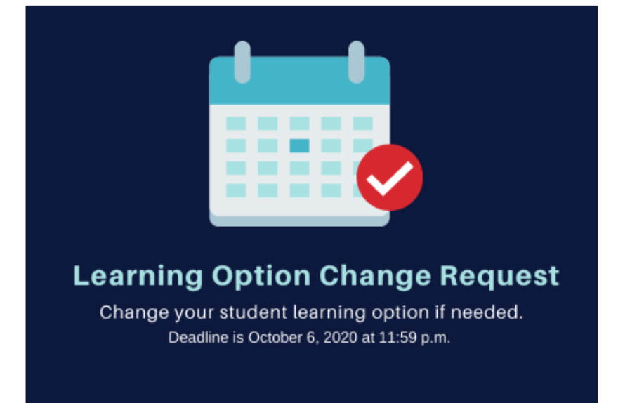 "a graphic that reads: ""Learning option change request"" in blue"