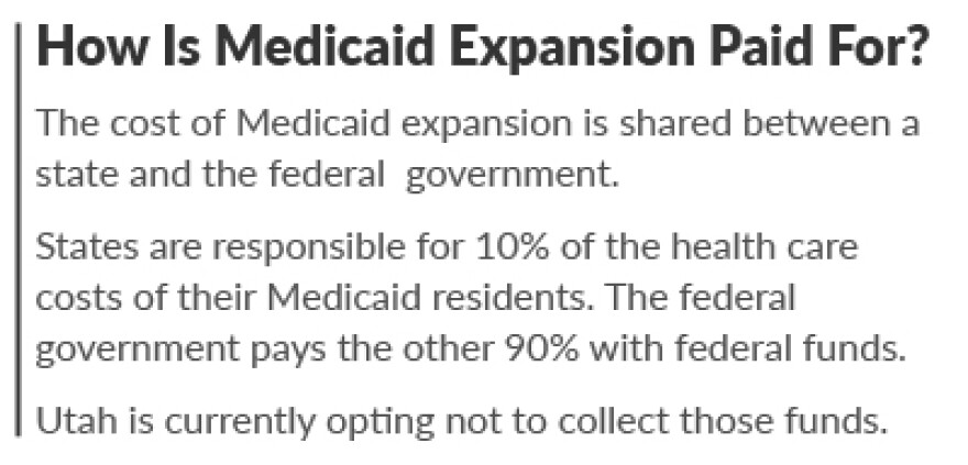 States are responsible for 10 percent of the health care costs of their Medicaid residents while the federal government pays the other 90 percent with federal funds.