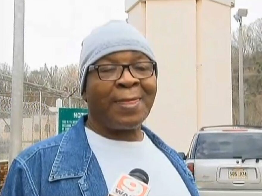 A video frame grab provided by WAFB TV shows former Louisiana State Penitentiary death row inmate Glenn Ford as he walks out of the prison in Angola, Louisiana, on Tuesday.