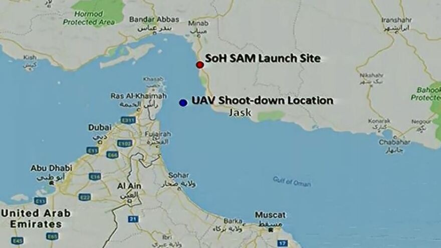 The Defense Department released a map showing the location of the U.S. Navy drone that was shot down by Iran, saying the craft was over international waters.