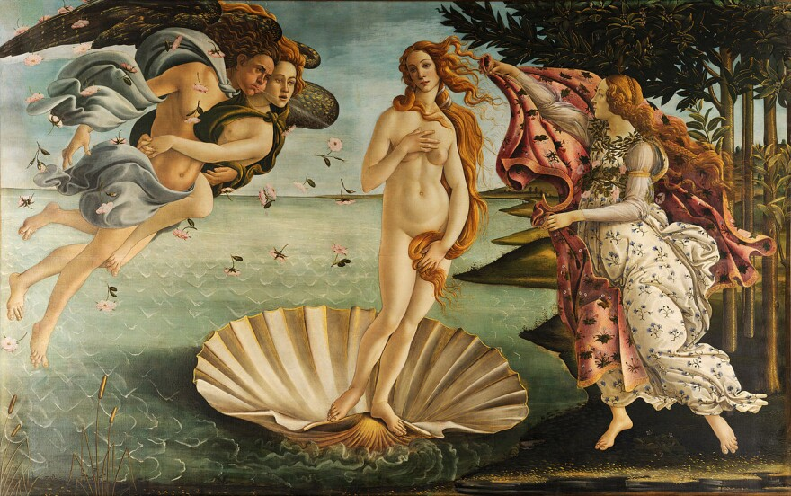 <em>The Birth of Venus, </em>by Sandro Botticelli, depicts the goddess of love floating on a giant scallop shell. The word aphrodisiac derives from her Greek name, Aphrodite.