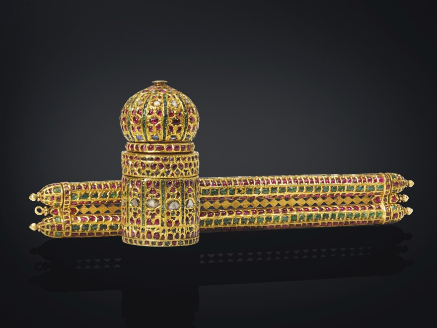 A bejeweled pen case and inkwell are part of the extensive collection that is expected to fetch more than $115 million at auction.