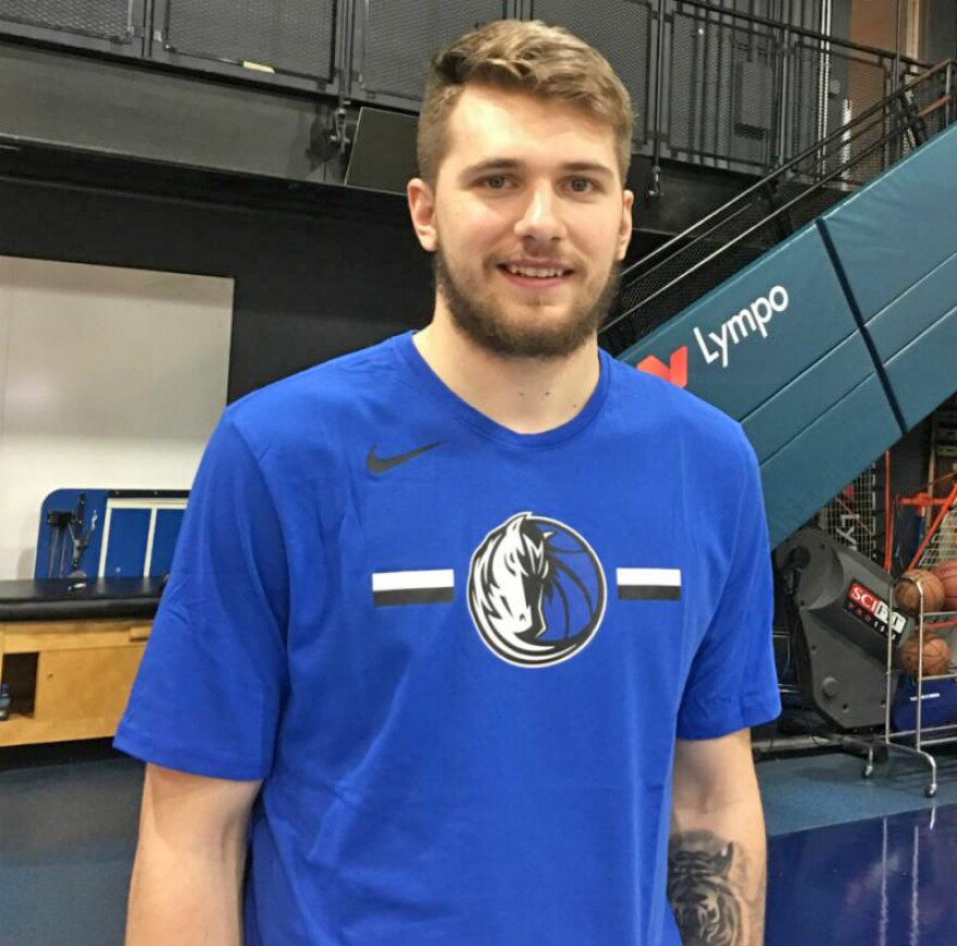 Mavericks superstar Luka Doncic, 19, on the Dallas Mavericks practice court at American Airlines Center. Yes, he's a rookie.