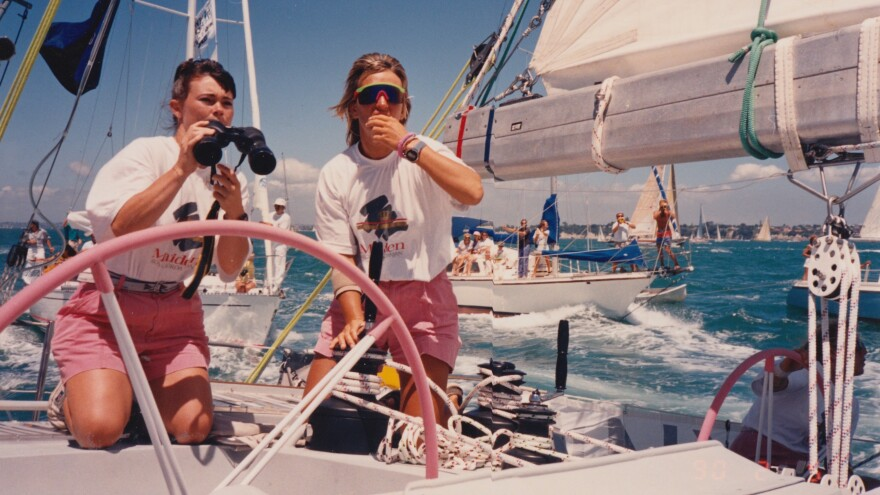 """""""We were always chatting, always talking,"""" Edwards (left, with crewmate Mikaela Von Koskull) says of the Maiden's voyage. """"I don't think there's one subject that we didn't cover in depth inside, outside and backwards."""""""