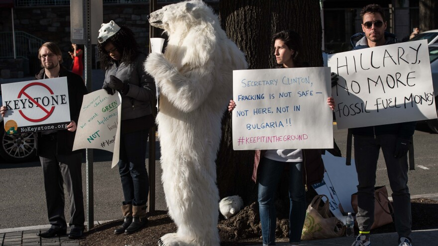 Environmental activists protest the proposed Keystone XL pipeline in Washington, D.C., earlier this year.