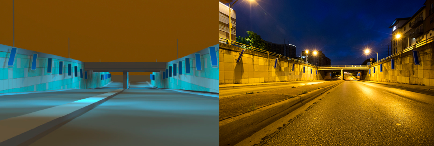 An artist's rendering of Moments on the left, and a nighttime photo of the scene in 2017 on the right.