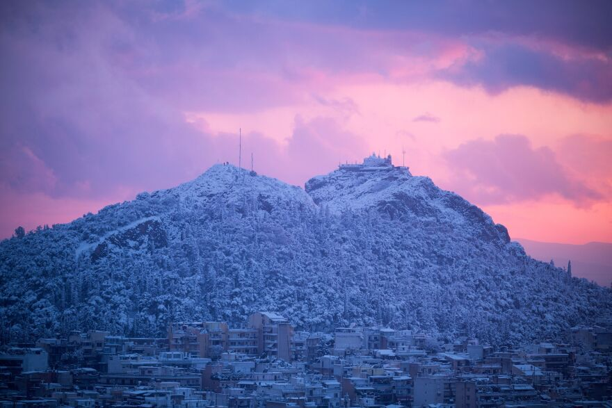 The hill of Lycabettus during a rare heavy snowfall in the city of Athens on Tuesday.