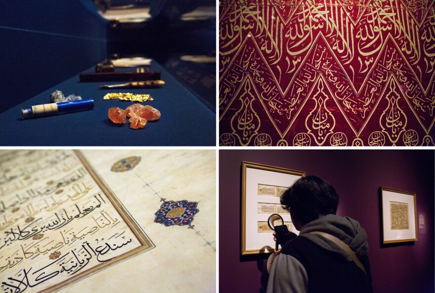(Top row left) Artists used burnishers, gum arabic, lapis lazuli and gold leaf for calligraphy and designs. (Right) Artists also covered silk panels with religious invocations, names of God and testaments of faith. (Bottom row left) A 150-pound Quran from 16th century Iran is full of rich details. (Right) Gallery visitor Macks Stacie Corpuz Lazo looks through Quran pages with a magnifying glass.