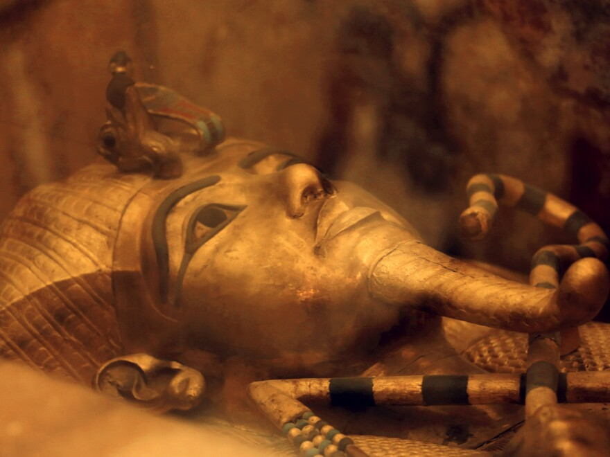 King Tutankhamun's golden sarcophagus displayed at his tomb in a glass case at the Valley of the Kings in Luxor, Egypt. New radar research published Sunday, indicates there are no hidden chambers in the tomb.
