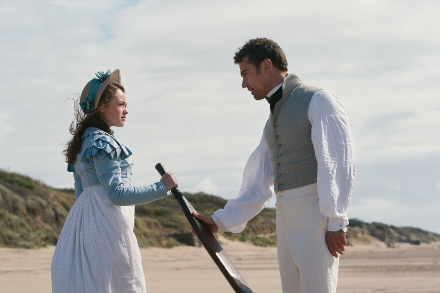 Shown from left to right: Charlotte Heywood (ROSE WILLIAMS) and Sidney Parker (THEO JAMES)