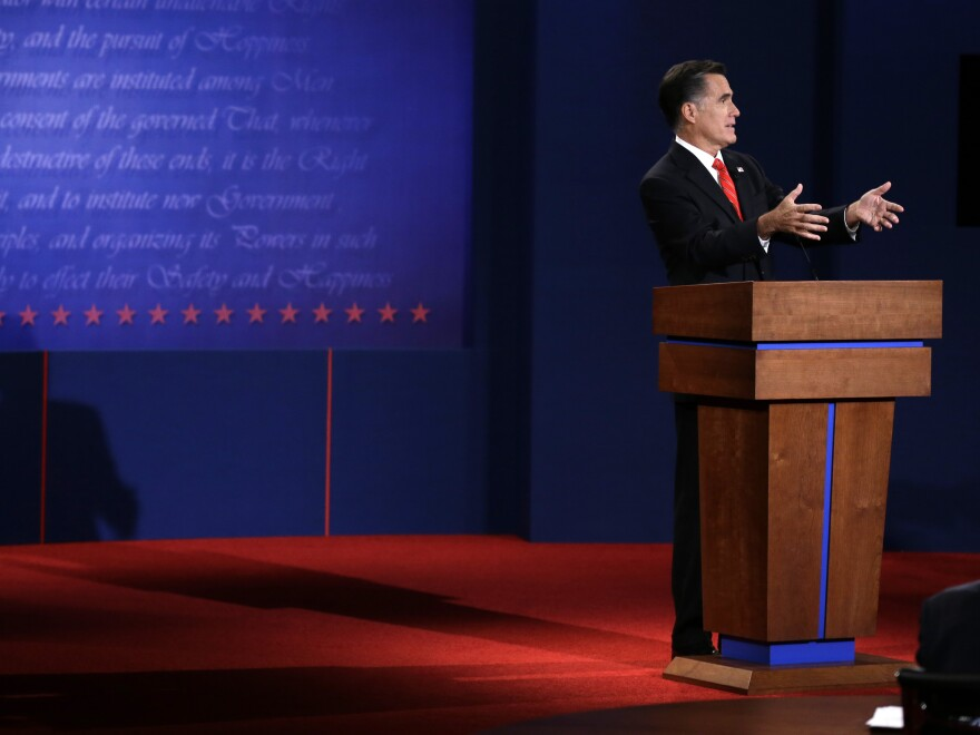 Mitt Romney at the first presidential debate at the University of Denver on Oct. 3.