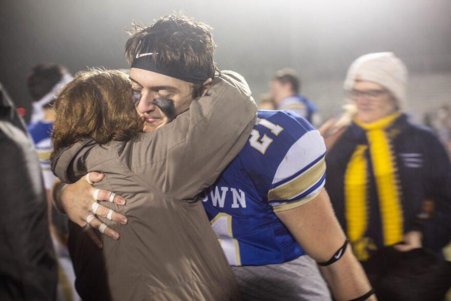 Newtown Senior Evan Prestera celebrates after the win, Sunday.