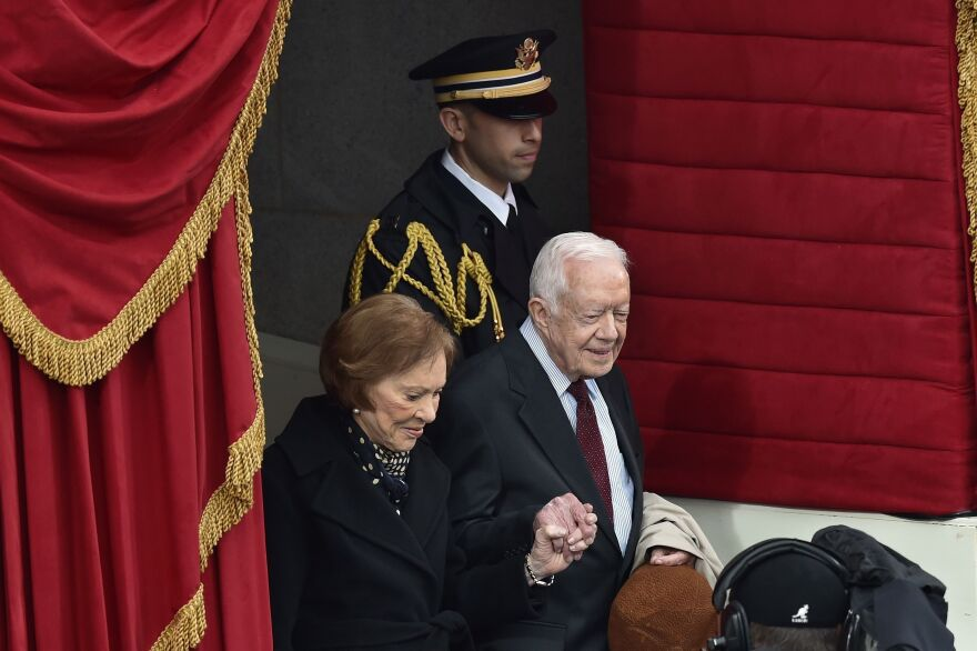 Former President Jimmy Carter and his wife, Rosalynn Carter, at the inauguration of President Trump on Jan. 20, 2017. On Saturday, Trump and Jimmy Carter spoke for the first time, discussing China.