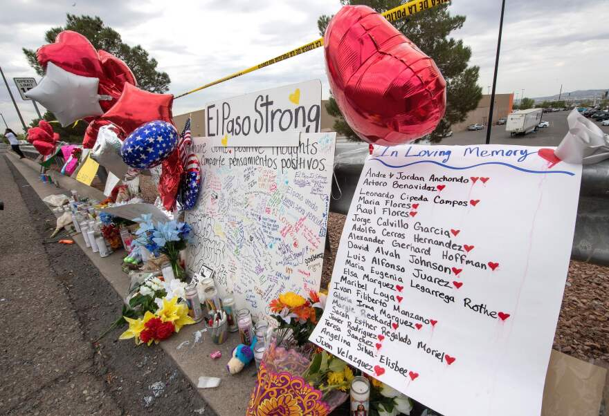 The names of the shooting victims adorn a makeshift memorial near the Cielo Vista Mall and Walmart in El Paso, Texas, on Tuesday. Saturday's shooting left 22 people dead.