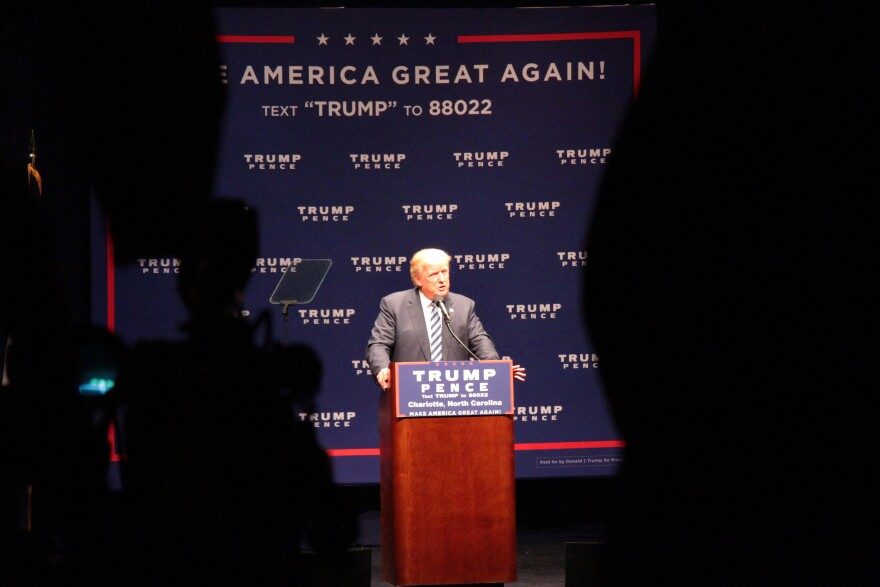 Donald Trump speaking Wednesday at McGlohon Theatre.
