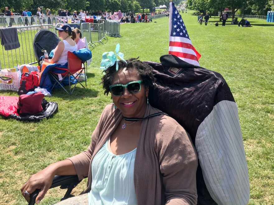 "Alison Noel flew in to London from Los Angeles and is spending Friday night sleeping in a lawn chair to catch a glimpse Saturday of Meghan Markle, whom she calls her ""L.A. Princess."""